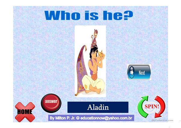 Verb BE  - Guess Who Cartoons - Spin the Wheel