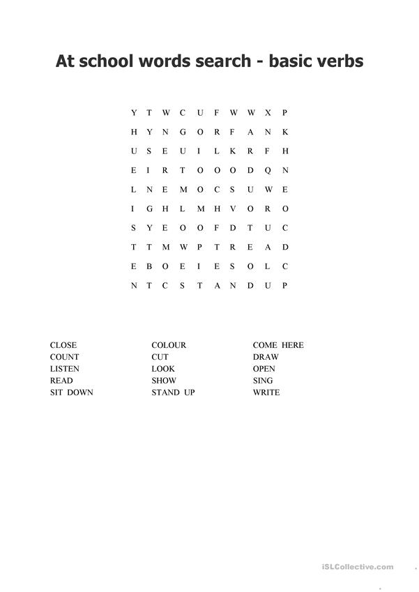 word search - basic words