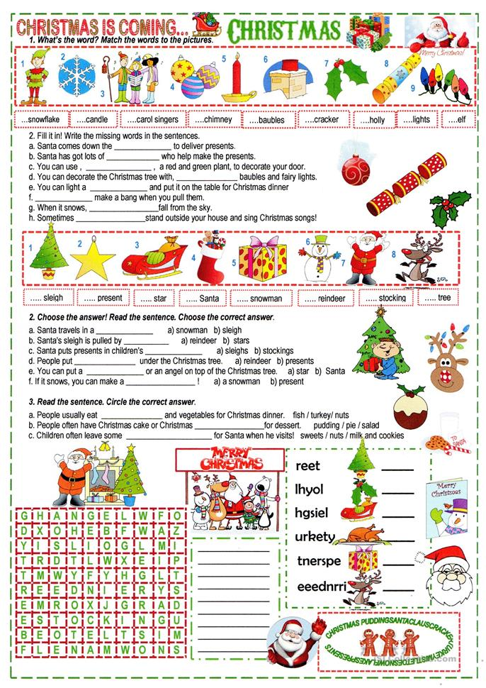 Christmas Worksheets For High School Students : Christmas worksheet high school fun crossword
