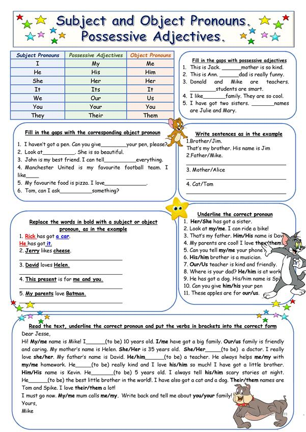 Subject And Object Pronouns Possessive Adjectives