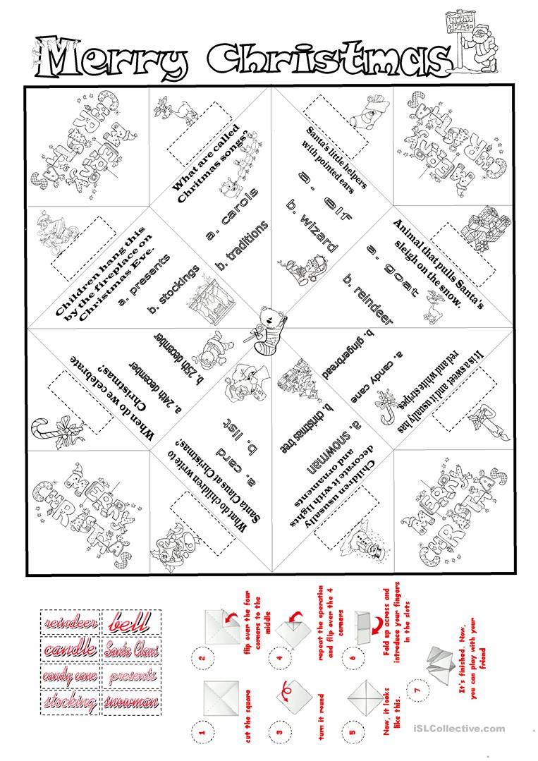 Christmas Cootie Catcher English Esl Worksheets For Distance Learning And Physical Classrooms