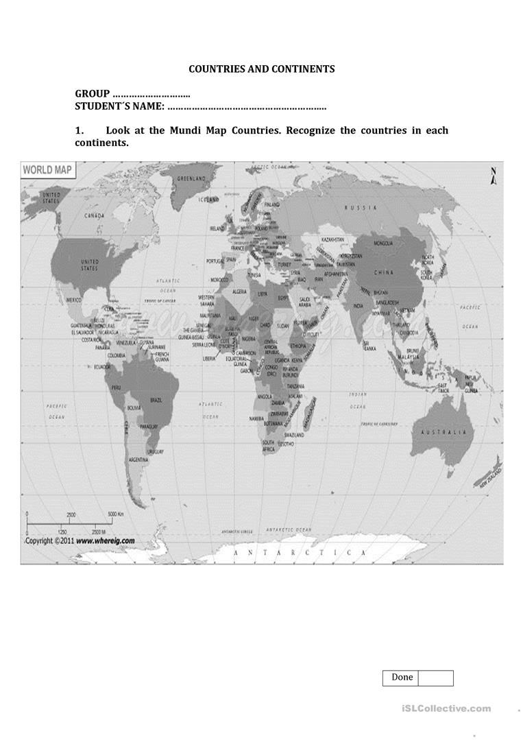 Continents and countries worksheet free esl printable worksheets full screen gumiabroncs Image collections