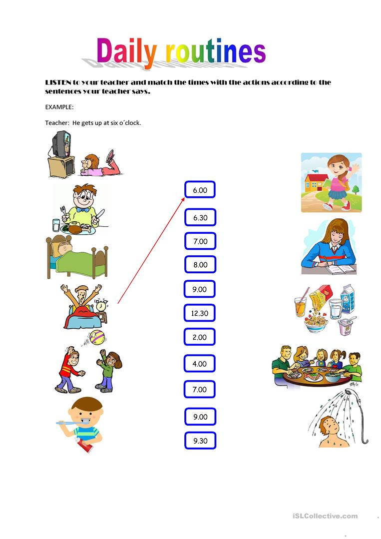 Daily routines. Listening activity - English ESL Worksheets