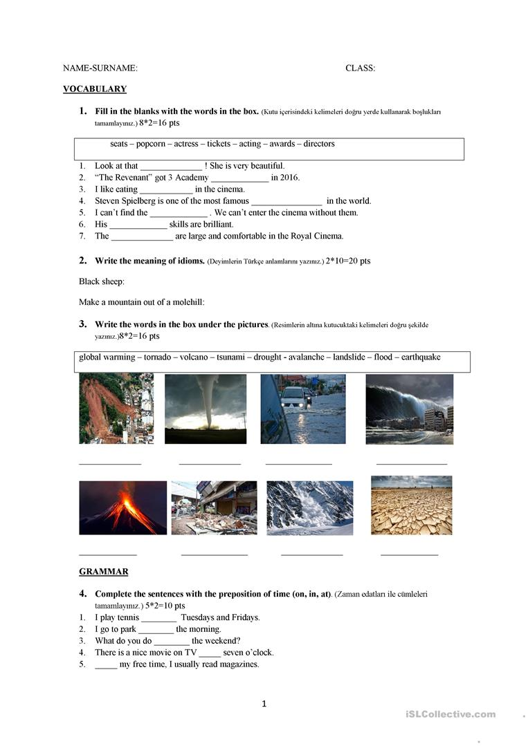- Grade 9 Exam - English ESL Worksheets For Distance Learning And