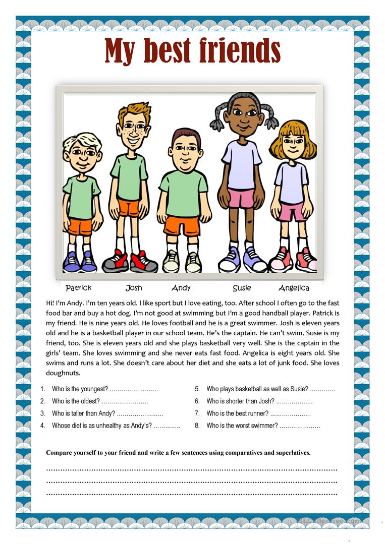 my best friend esl A free 9-page esl lesson listening plan on friends a graded article  my  best friends and i all grew up together and shared so many experiences together.