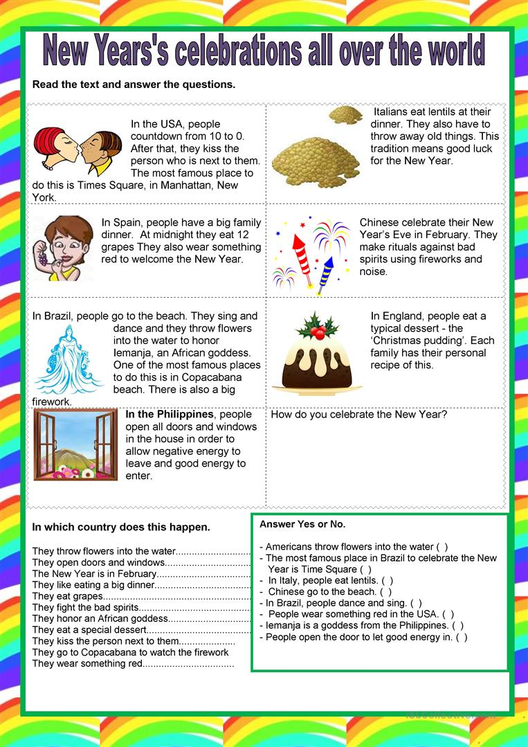 56 free esl new years eve worksheets new years celebration publicscrutiny Choice Image