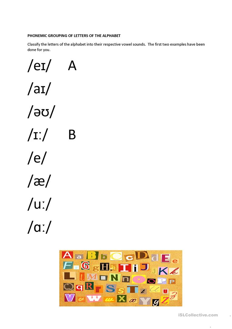 Phonemic Grouping Of Letters Of The Alphabet Worksheet Free Esl