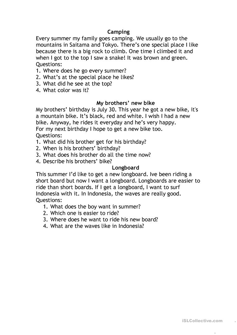 - Short Stories - English ESL Worksheets For Distance Learning And