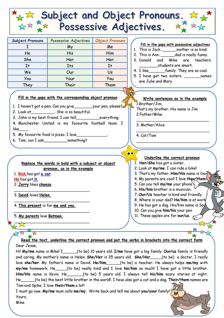 Subject and Object Pronouns. Possessive Adjectives worksheet ...