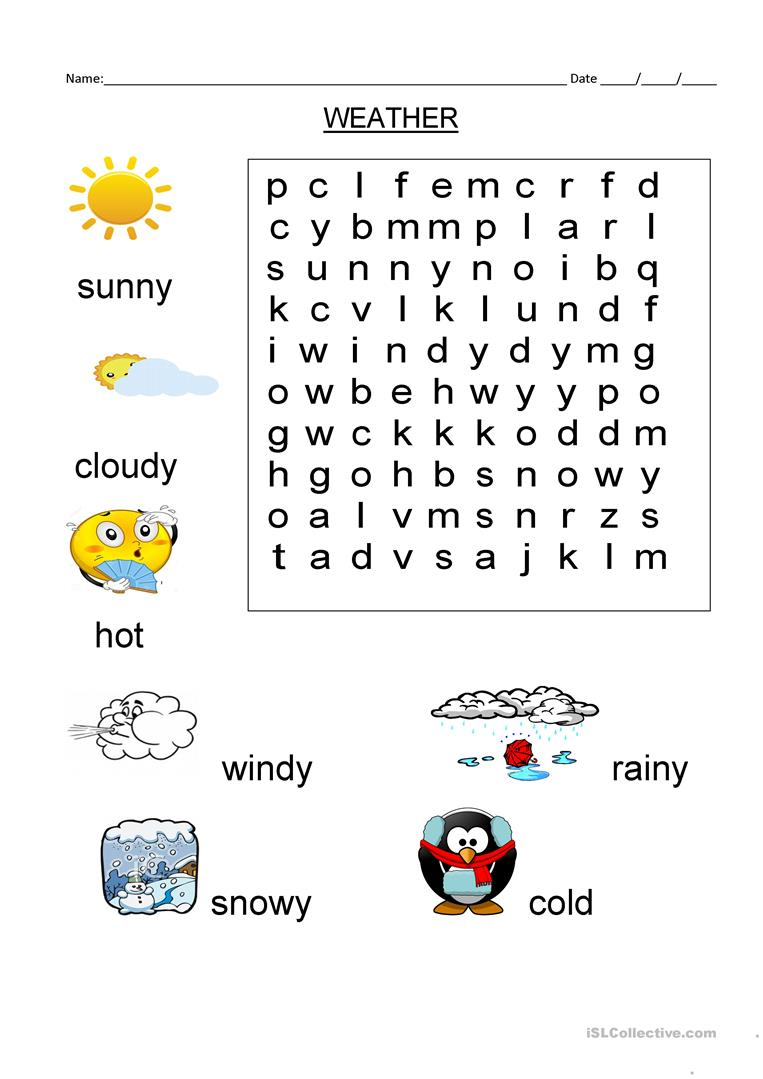 wordsearch weather vocabulary worksheet - Free ESL printable ...