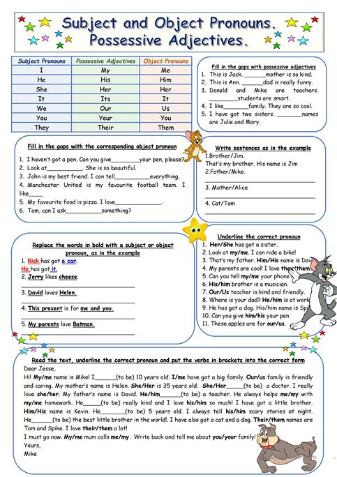 Subject and Object Pronouns. Possessive Adjectives worksheet - Free ...