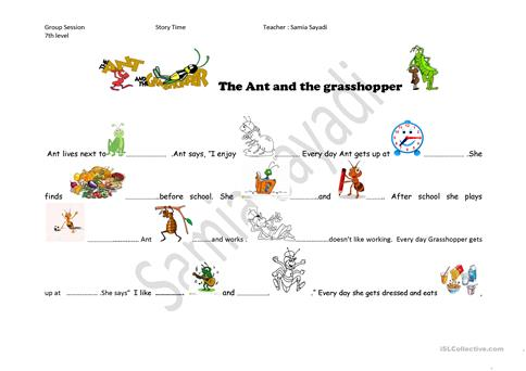 The Ant And The Grasshopper Worksheet Free Esl Printable