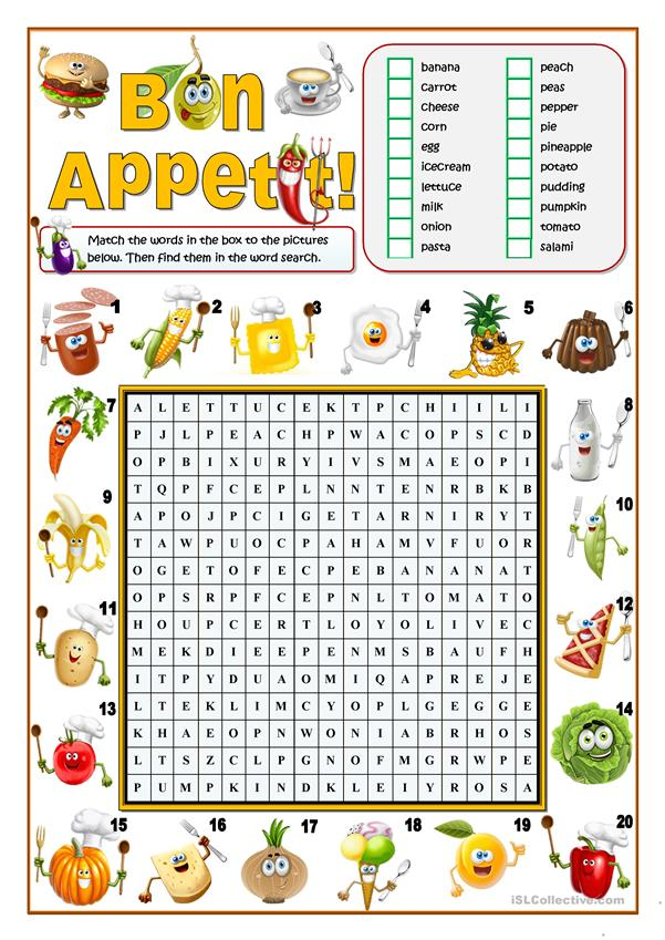 BON APPETIT! - FOOD WORD SEARCH