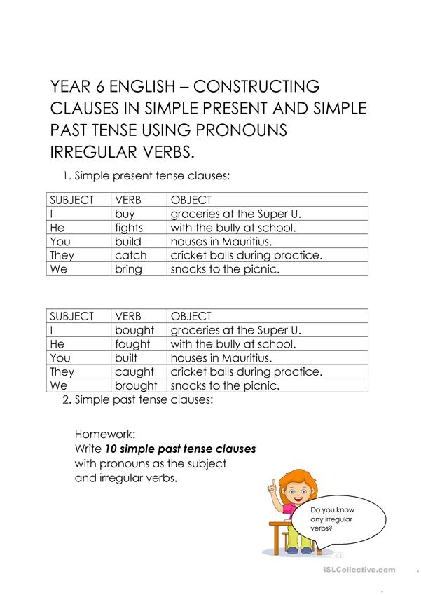 Constructing simple tense clauses