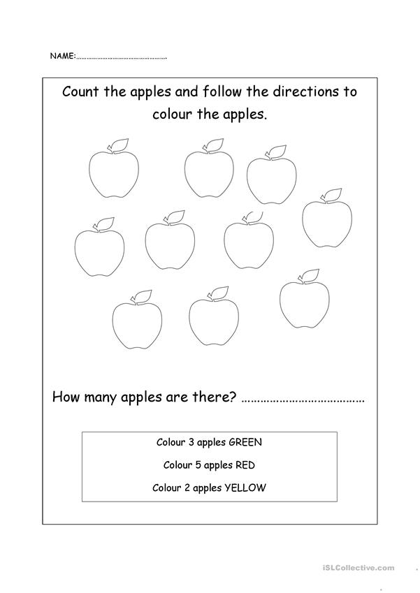 Count and colour the apples