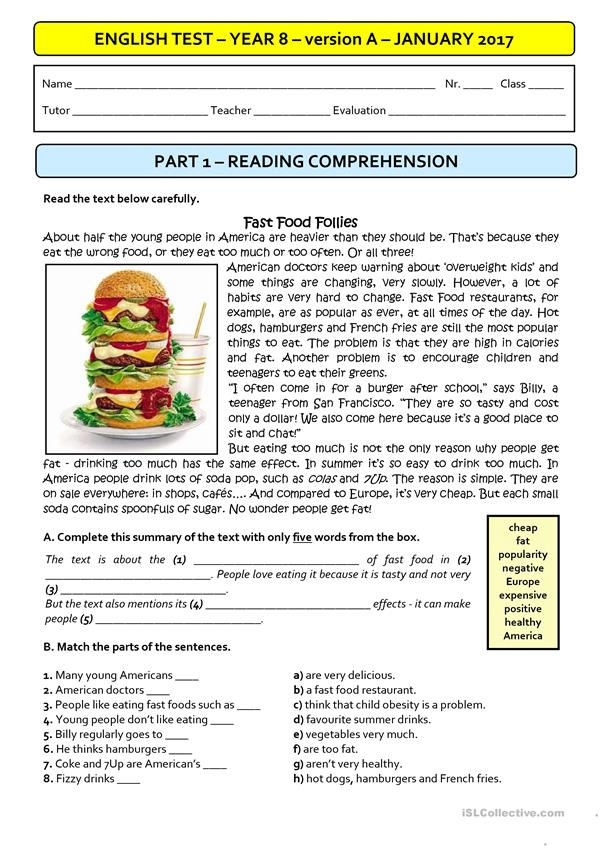 FAST FOOD  - A1 Test (version A)