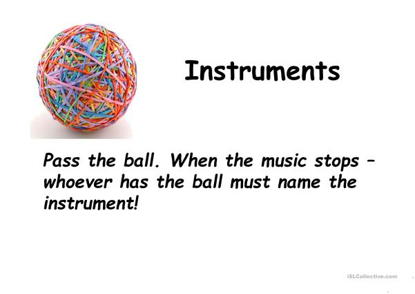 Instruments vocabulary - Pass the ball game