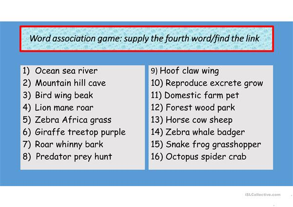 Language Activities linked to Animals