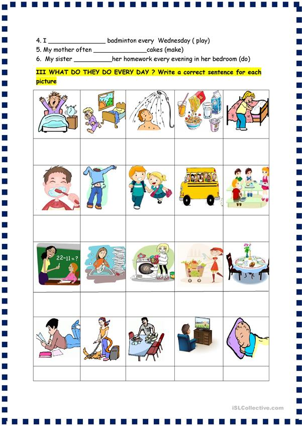 Present simple /adverbs 4 page test