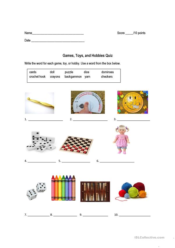 Vocabulary Practice: Games, Hobbies, and Toys