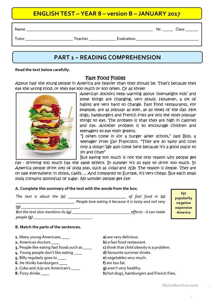 Special School Worksheets : Fast food a test version b students with special