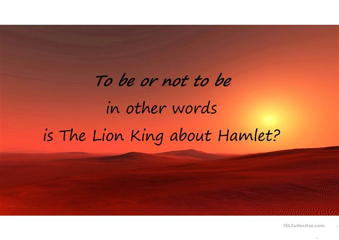 Hamlet and the Lion King worksheet Free ESL projectable – Hamlet Worksheets
