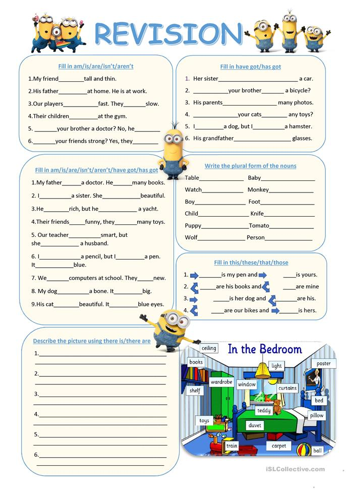 Revision (To be, have got, plurals, demonstratives, there is, there... - ESL worksheets