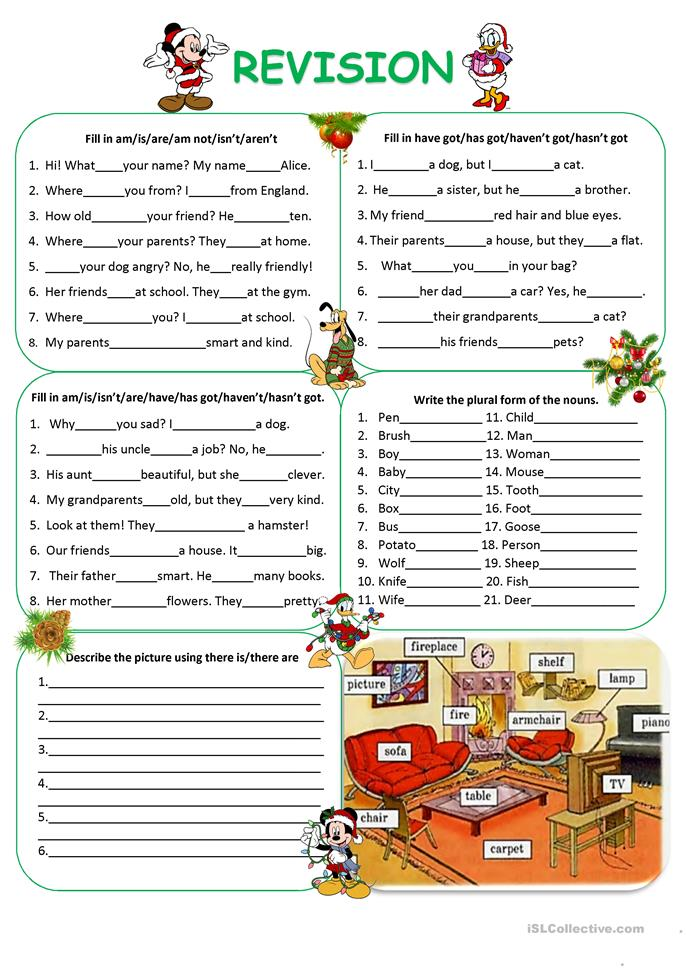 Revision (To be, have got, plurals, there is, there are) - ESL worksheets