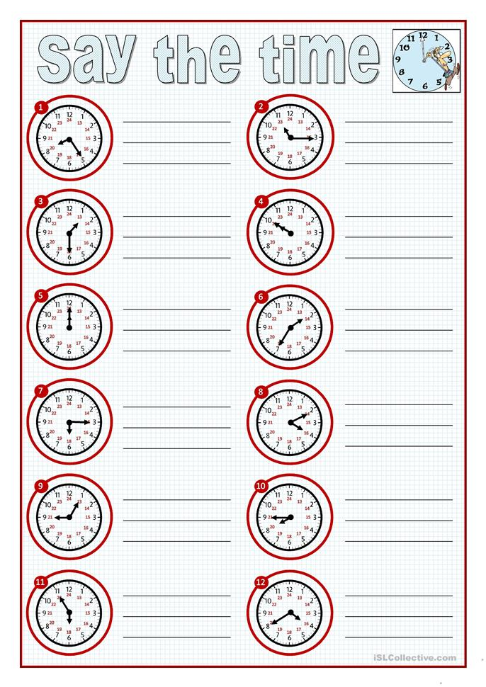Printable Special Needs Worksheets : Say the time worksheet free esl printable worksheets