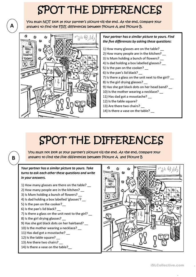 Free Printable Spot The Difference Worksheets : Spot the differences worksheet free esl printable