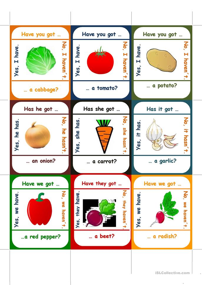 Vegetables go fish worksheet free esl printable for California fish and game jobs