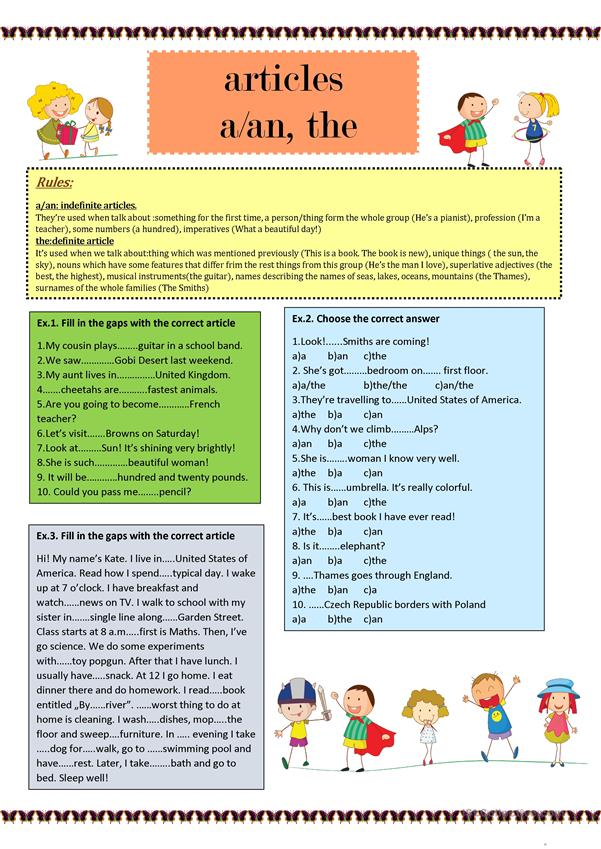 Article A/an The - English ESL Worksheets For Distance Learning And  Physical Classrooms