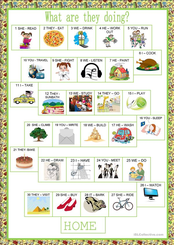 board game - present continuous worksheet