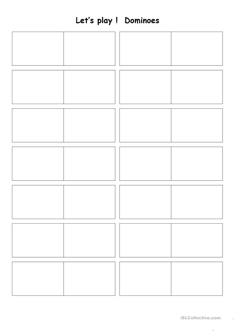 photograph relating to Printable Dominos named Blank dominoes - English ESL Worksheets