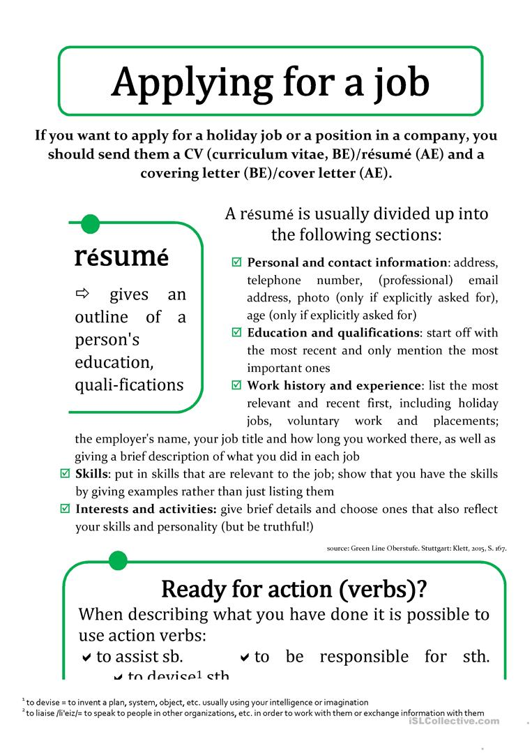 cv  r u00e9sum u00e9 and cover ing  letter worksheet