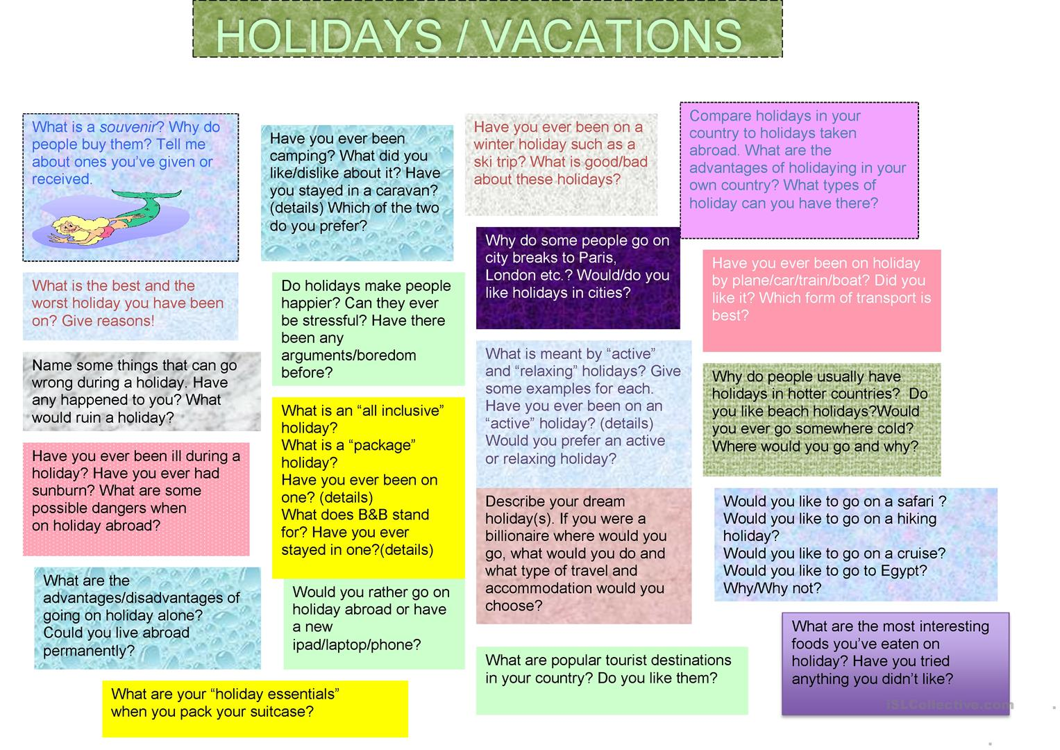 Holidays and Travel Discussion Questions - English ESL ...