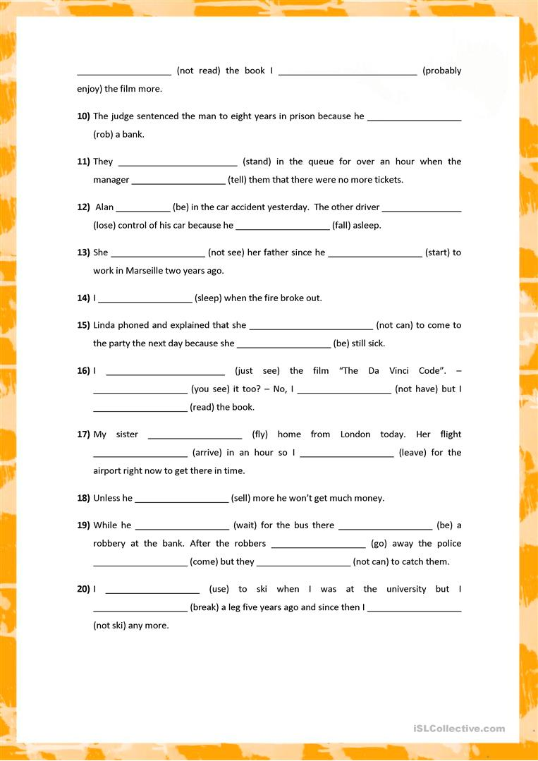 mixed tenses Tenses all downloads are in pdf format and consist of a worksheet and answer sheet to check your results levels of difficulty: elementary intermediate advanced.