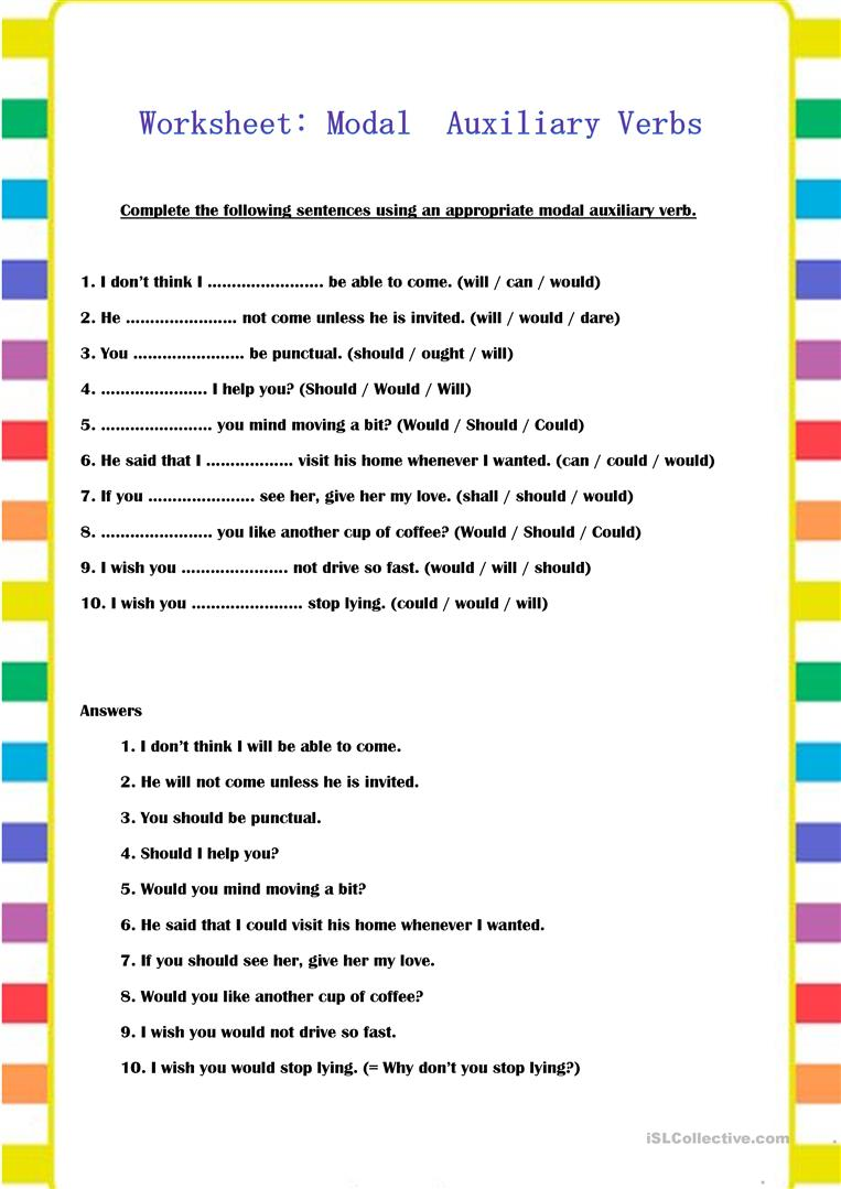 Modal Auxiliary Verbs - English ESL Worksheets