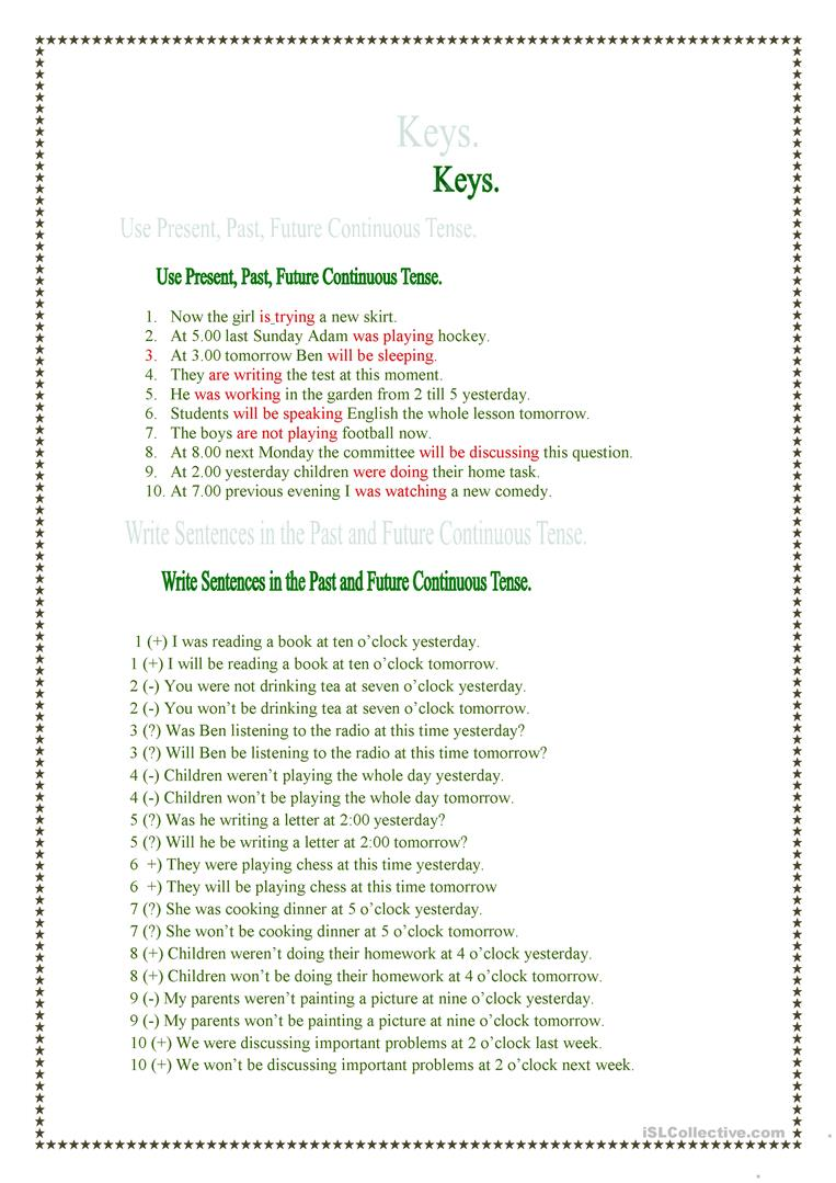 Present, Past and Future Continuous Tenses. worksheet - Free ESL ...