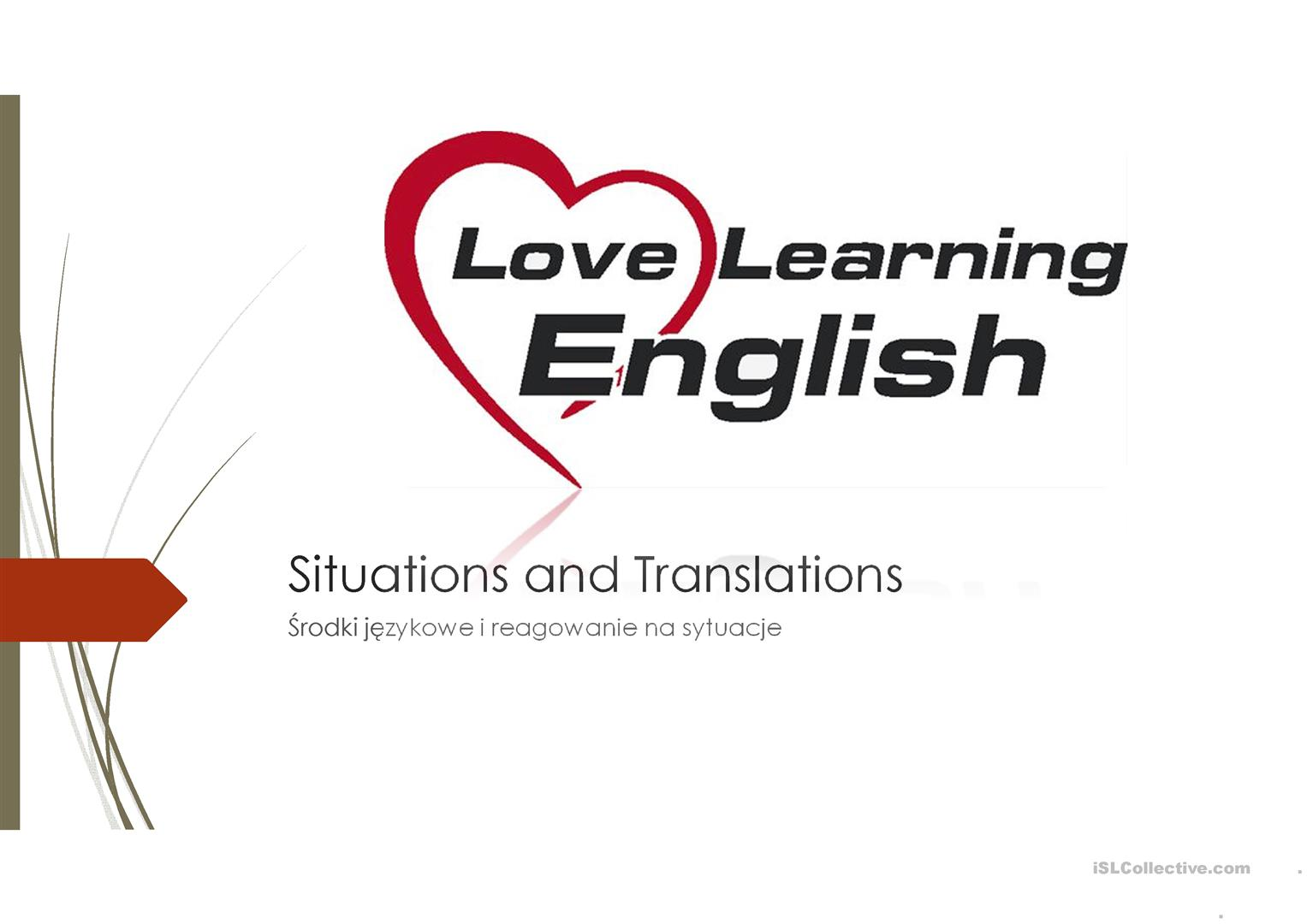 Worksheets Translations Worksheet situations and translations worksheet free esl projectable full screen