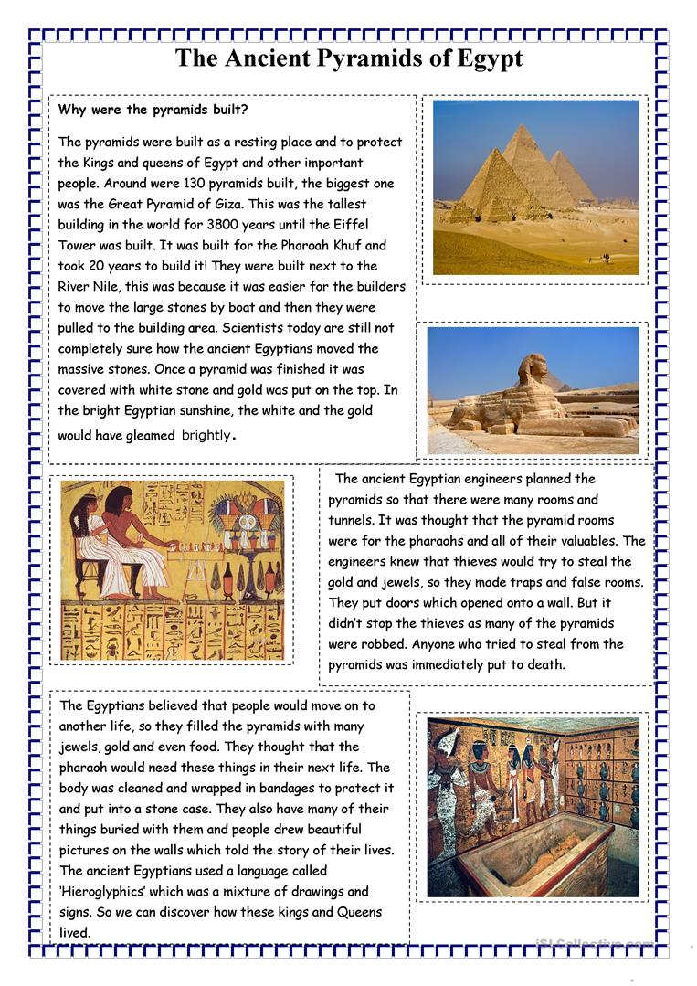 graphic about Ancient Egypt Printable Worksheets named The Historic Pyramids of Egypt - English ESL Worksheets