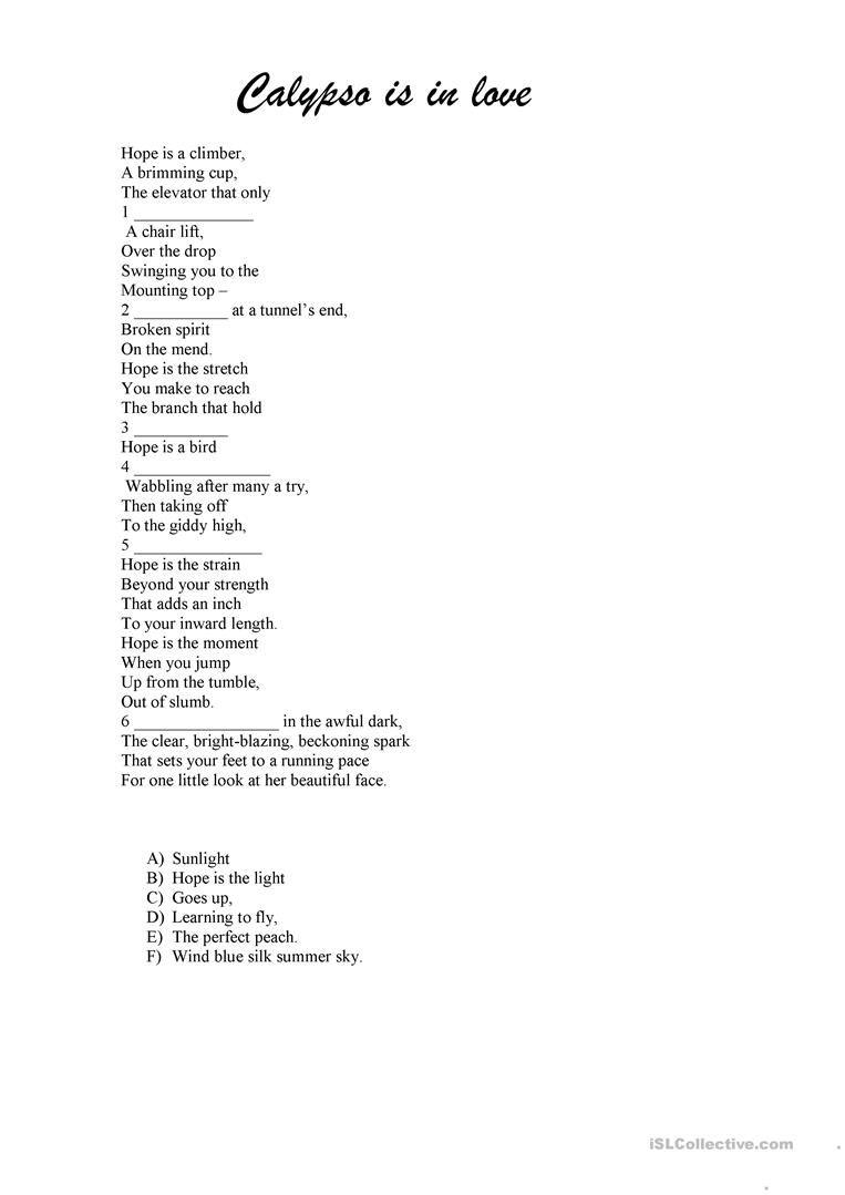 The poem Calypso is in love - English ESL Worksheets