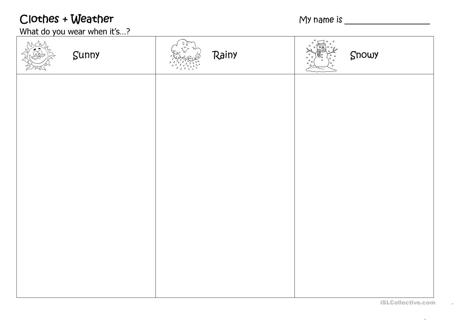14 Free Esl Weather And Clothes Worksheets