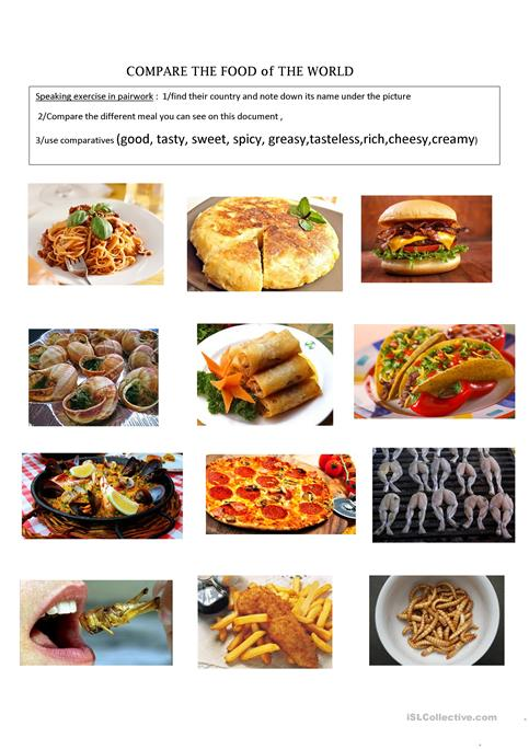 Compare the food of the world worksheet free esl printable compare the food of the world worksheet free esl printable worksheets made by teachers ibookread Download
