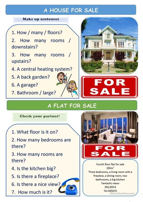 Asking and giving information about a house/flat for sale (There is / there are) 2 Pages