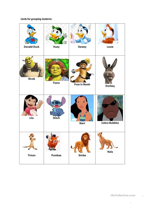Cards for grouping students