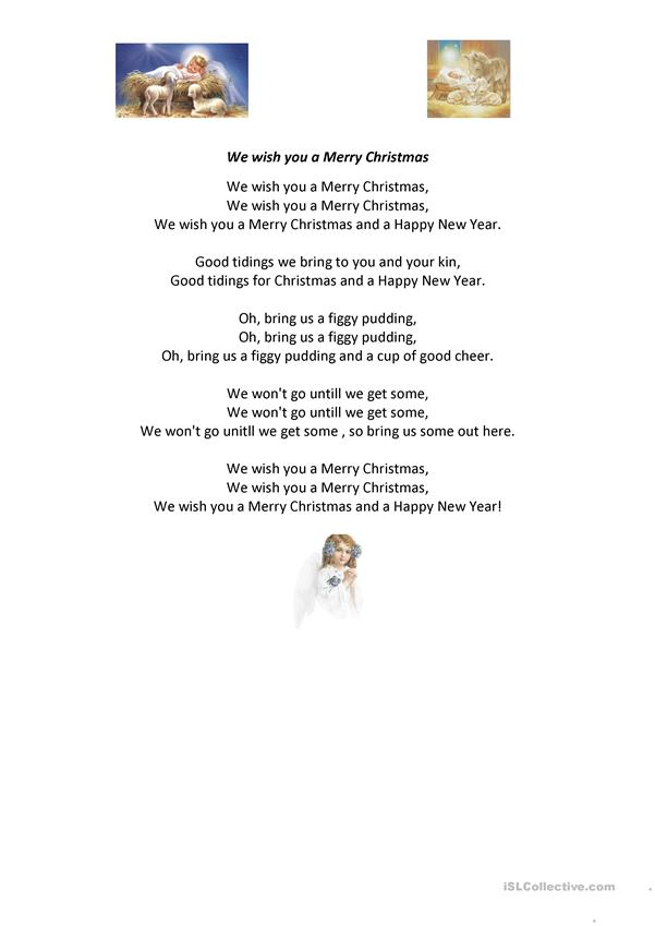 Christmas song-We wish you a Merry Christmas (words to learn)