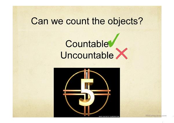 Countable and uncountable nouns. Quantifiers