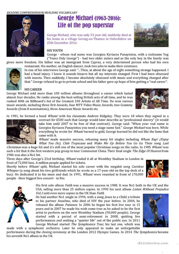 GEORGE MICHAEL: LIFE OF THE POP SUPERSTAR /2 pages