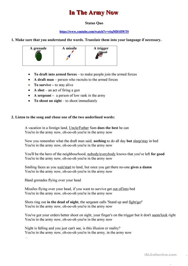 In the Army now - Status Quo - Song Worksheet